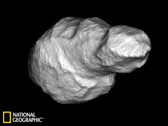 """近地小行星""""4179 Toutatis""""的电脑模拟图"""
