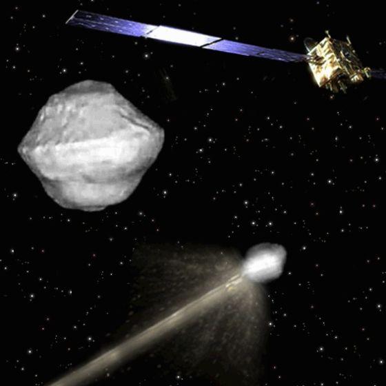 """这是一张艺术示意图,展示的是由欧洲主导的""""小行星撞击和偏离评估""""(AIDA)项目实施的过程。根据该计划,美欧将发射两艘飞船,其中一艘将撞击一颗小行星并试图改变其轨道,当撞击发生时另一艘飞船将在附近对撞击过程进行观测和评估"""