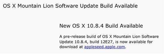 苹果面向测试人员发布OS X 10.8.4测试版系统