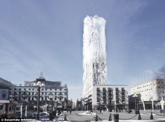 """艺术概念图,展示了斯德哥尔摩计划建造的一座另类生态摩天楼,名为""""稻草摩天楼"""",好像戴着一个巨型假发。这些假发实际上是细细的纤维,能够随风摆动并将运动转换成能量"""